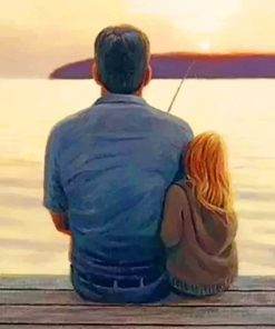 Daddy Daughter Fishing Paint by numbers