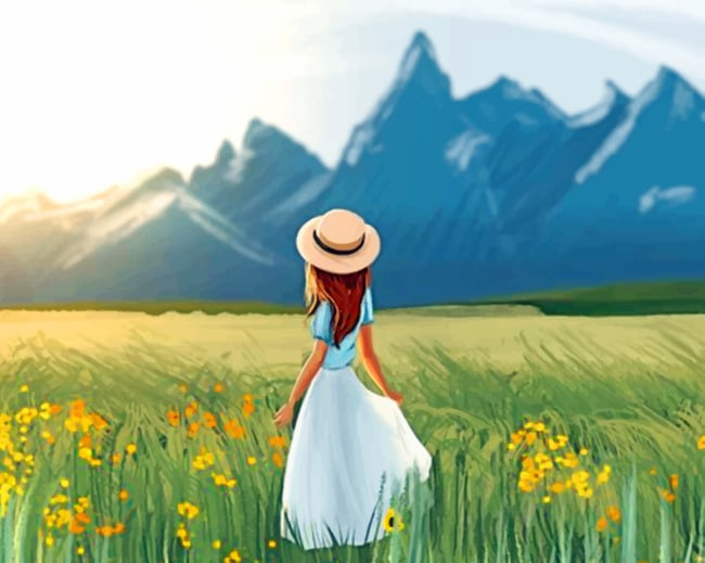 Girl In A Field Paint by numbers