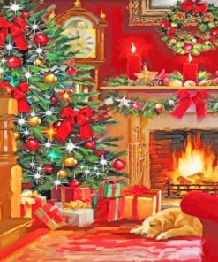 Aesthetic Christmas Fireplace Paint by numbers