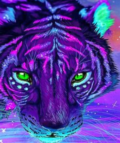 Aesthetic Purple Tiger Paint by numbers