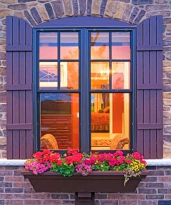 Aesthetic Window And Flowers paint by numbers
