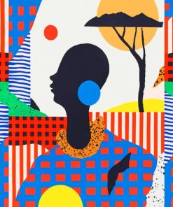 Artistic Colorful African Woman Paint by numbers
