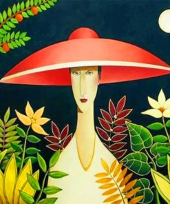 Asian Woman Wearing A Red Sunhat paint by numbers