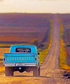 Blue Truck On A Road paint by numbers
