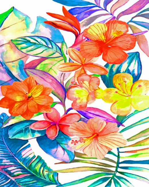 Bright Tropical Flowers Paint by numbers