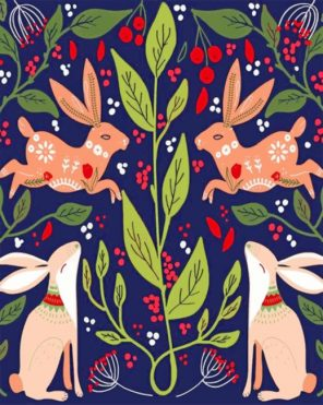Bunny Folk Art Paint by numbers