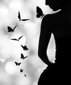 Butterfly Woman SilhouetteButterfly Woman Silhouette Paint by numbers