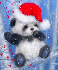 Christmas Panda paint by numbers