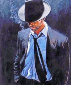 Classy Man With A Black Hat Paint by numbers