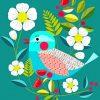 Cyan Bird Paint y numbers