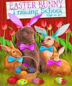 Easter Bunny Training School Paint by numbers