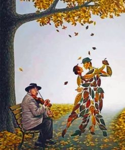 Fallen Leaves Dancing paint by numbers