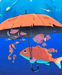 Fish Holding An Umbrella Paint by numbers