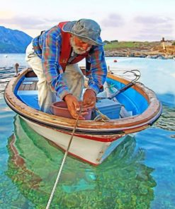 Fisherman On A Boat Paint by numbers