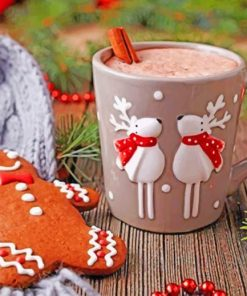 Gingerbread Cookies And Coffee Paint by numbers