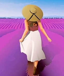 Girl Enjoying The Spring In A Field Of lavender paint by numbers