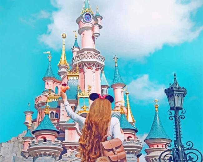 Girl Having Fun In Disney Paint by numbers
