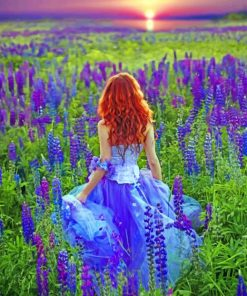 Girl In lavender Field paint by numbers