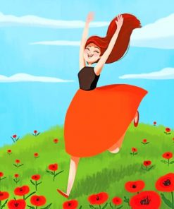Girl Running In Field paint by numbers