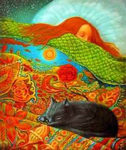 Girl Sleeping With her Cat paint by numbers