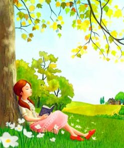 Girl Under A Tree paint by numbers