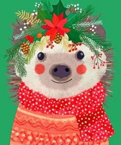 Hedgehog Celebrating Christmas Paint by numbers