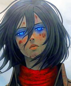 Mikasa Attack On Titan paint by numbers