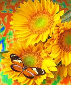 Butterfly On A Sunflower paint by numbers