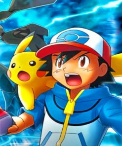 Pokemon Ash And Pikachu paint by numbers