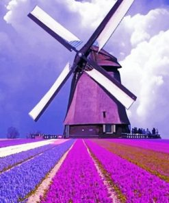 Purple Field And Windmill paint by numbers