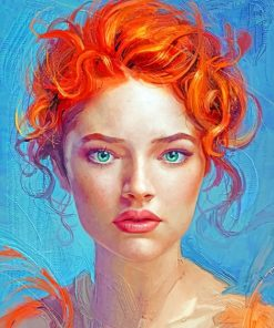 Red Head Beautiful Lady paint by numbers