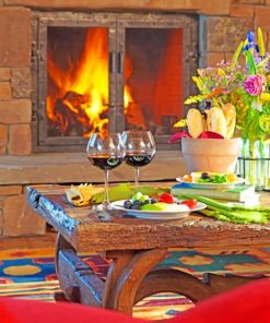 Romantic Fireplace Dinner paint by numbers