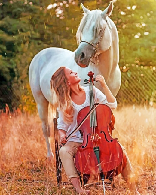 Violinist Girl With A White Horse paint by numbers