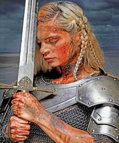 Woman Holding A Sword paint by numbers