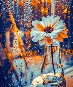 White Flower In A Glass paint by numbers