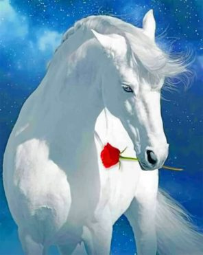 White Horse Holding A Red Flower paint by numbers