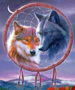 Wolves Dream Catcher Paint by numbers