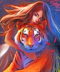 Woman And Tiger paint by numbers