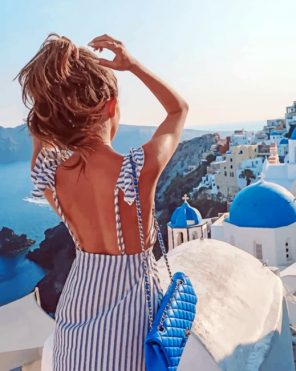 Woman In Santorini Paint by numbers
