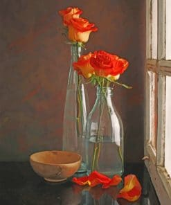 Aesthetic Flowers In A Glass Bottles Paint by numbers
