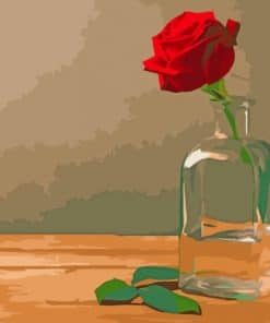 Red Rose In A Glass Bottle paint by number