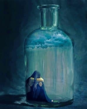Sad Woman In A Glass Bottle Paint by numbers