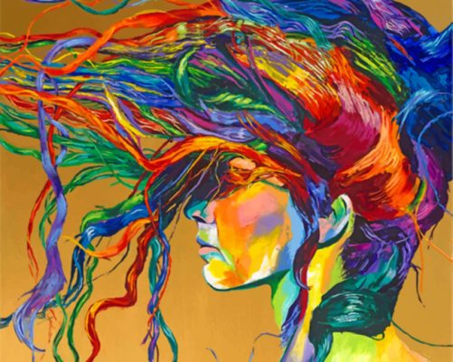 Abstract Colorful Woman paint by numbers