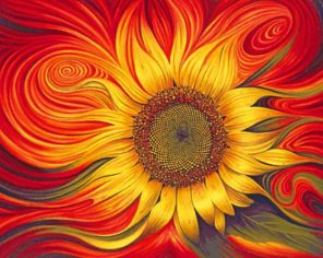 Abstract Sunflower paint by numbers