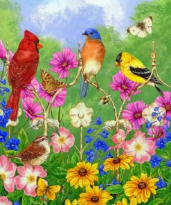 Birds On Flowers paint by numbers