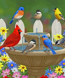 Birds On Fountain paint by numbers