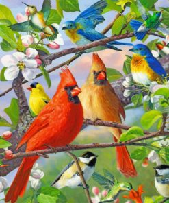 Birds On Tree paint by numbers