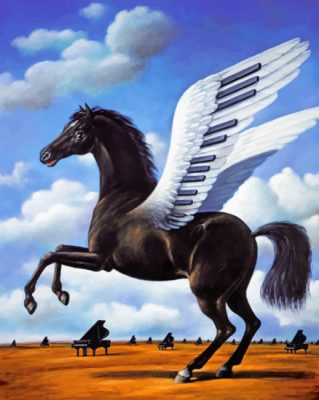 Black Horse Piano Wings paint by numbers