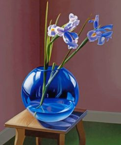 Blue Glass Plant Vase paint by numbers