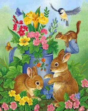 Bunnies In Garden paint by numbers